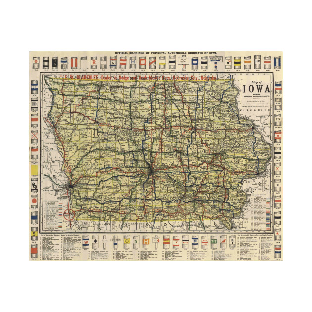 Vintage Iowa Automobile Map Iowa Map Phone Case TeePublic - Vintage iowa map