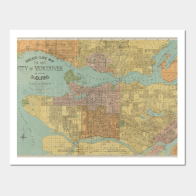 Vancouver wall art teepublic vintage map of vancouver canada 1920 wall art gumiabroncs Gallery