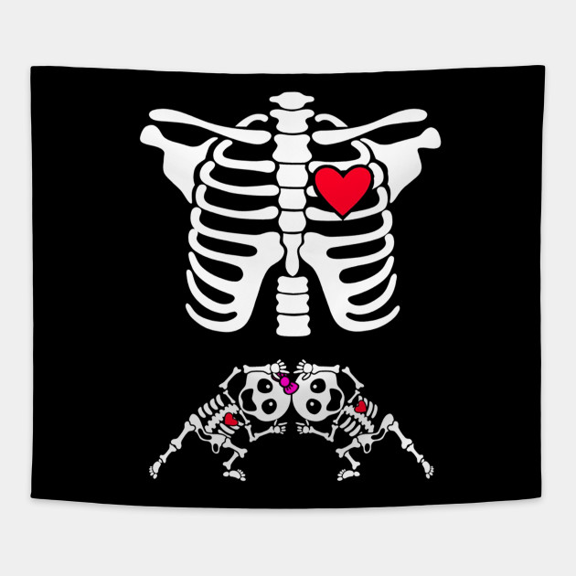 60f95490749b0 Pregnant Skeleton Twin Costume Halloween Shirt boy and girl Tapestry