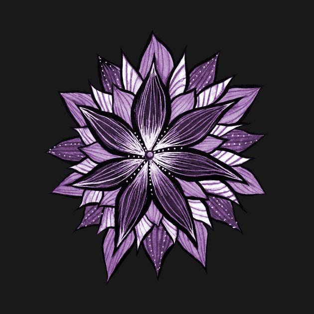 Purple Mandala Like Ink Drawn Abstract Flower
