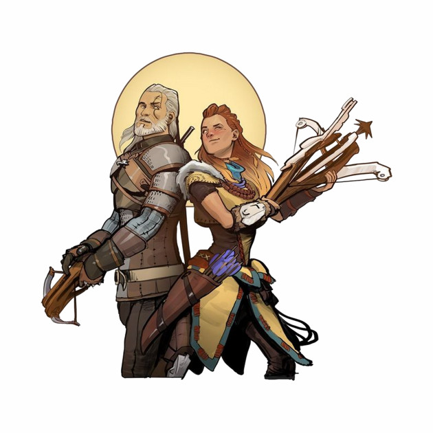Aloy and Geralt BFF's in arms