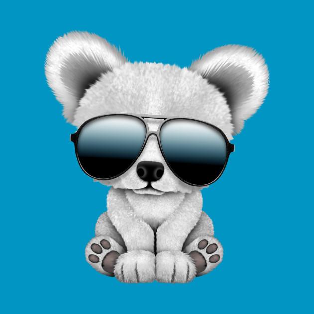 239552c989f Cute Baby Polar Bear Wearing Sunglasses Cute Baby Polar Bear Wearing  Sunglasses