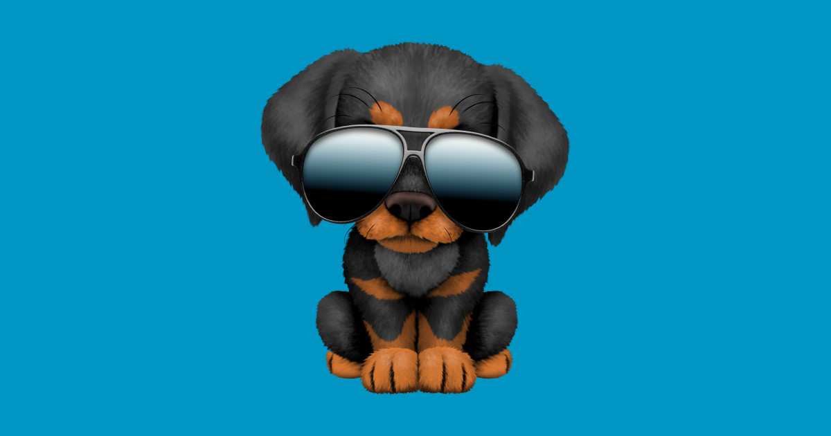 Cute Doberman Puppy Dog Wearing Sunglasses by jeffbartels