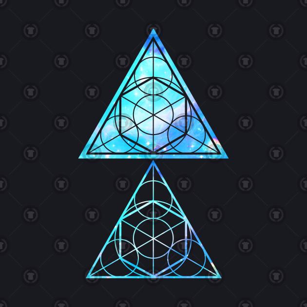 blue triangles sacred geometry triangle baseball t shirt