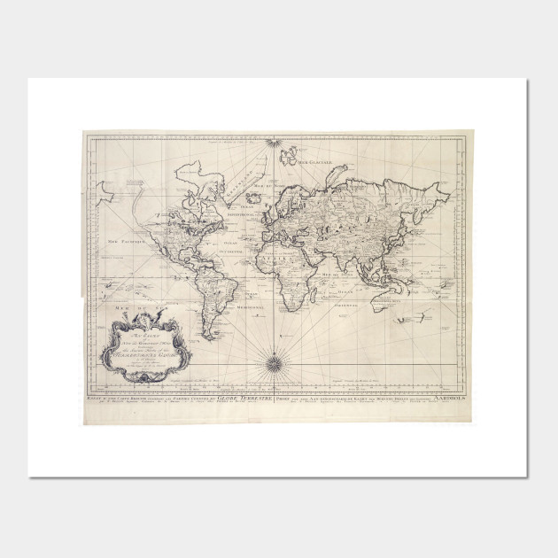 Vintage Map Of The World 1750 World Map Posters And Art Prints