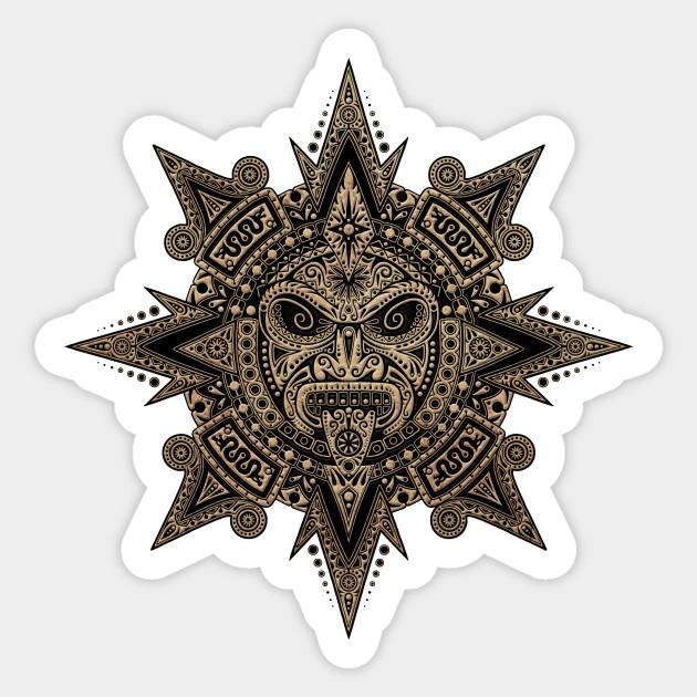 Ancient Stone Mayan Sun Mask Mayan Sticker Teepublic