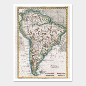 South america map wall art teepublic vintage map of south america 1780 wall art gumiabroncs Gallery