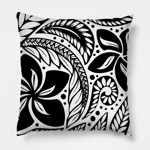 Circular Polynesian Black Floral Tattoo Tattoo Pillow Teepublic