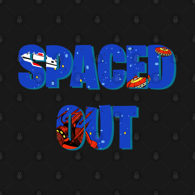 Spaced Out retro arcade style design