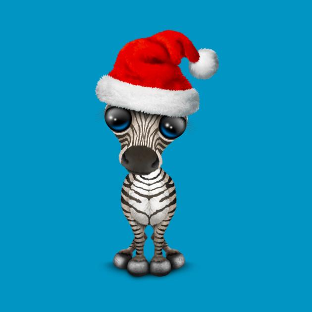 Baby Zebra Wearing a Santa Hat