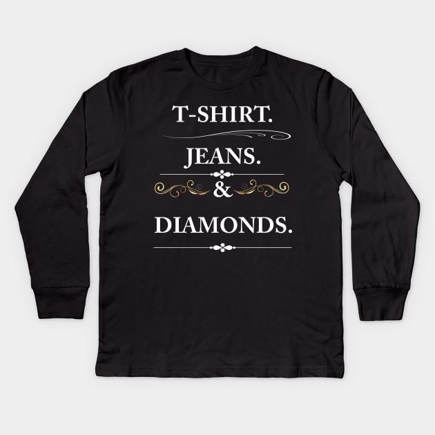 19be727b Women's T-shirt Jeans and Diamonds Vintage Graphic T-shirt Kids Long Sleeve  T-Shirt