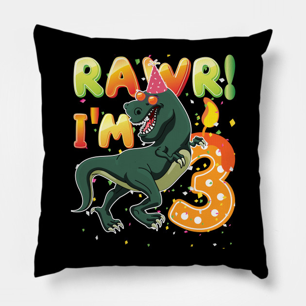 Dinosaur Birthday Shirt 3 Years Old Rawr Im T Pillow