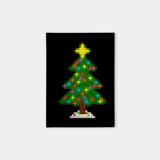 Pixel Christmas Tree with Glowing Lights (Black) Notebook