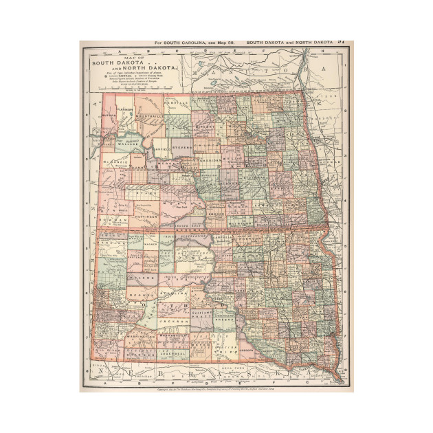 Vintage Map of North and South Dakota (1891) - North And South ...