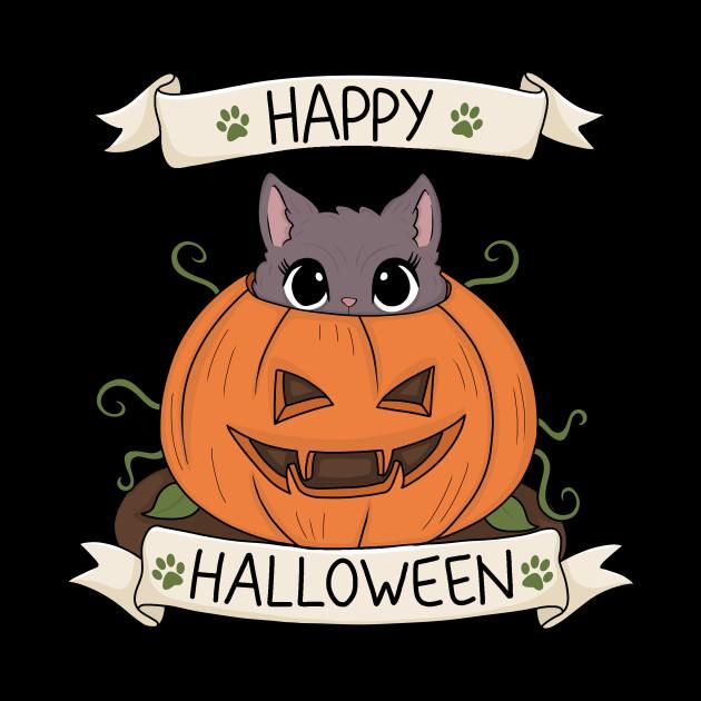 Cute Cat in Pumpkin - Halloween