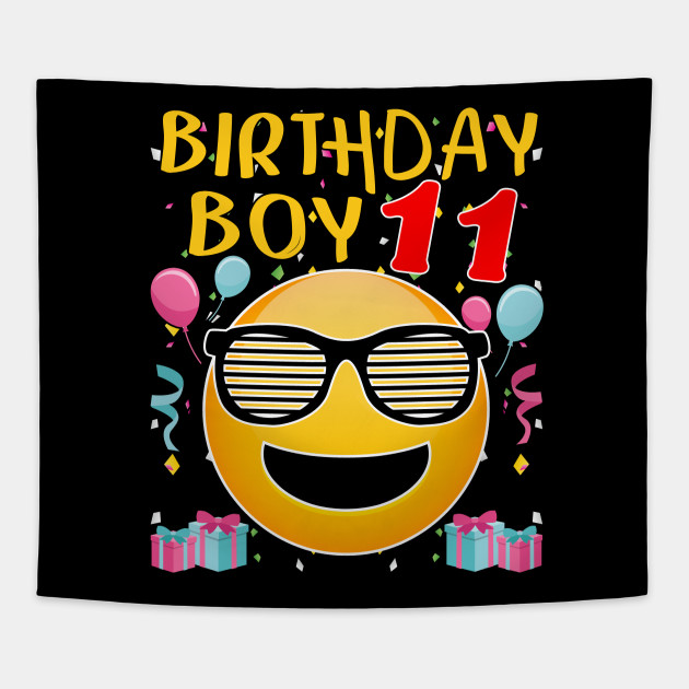 Kids Emoji 11th Birthday Boy T Shirt Fun 11 Years Old Gift Tapestry