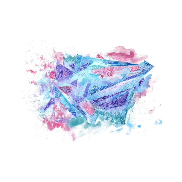 Space spaceship Abstract Watercolor