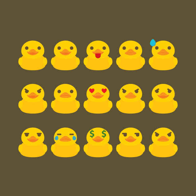 Rubber Duck Emoji 15 Different Facial Expressions - Duckling - T ...