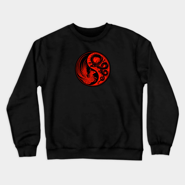 Red and Black Dragon Phoenix Yin Yang