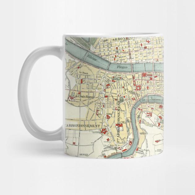 Vintage Map Of Lyon France 1900 Lyon Map Mug Teepublic