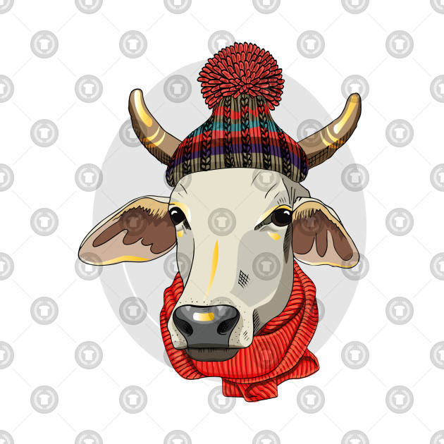 Red Scarf Knitted Hat Hand Drawn Dressed Cow