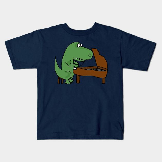 460b6cb1 Cute Funny Green T-rex Dinosaur Playing Piano Cartoon - Dinosaur ...