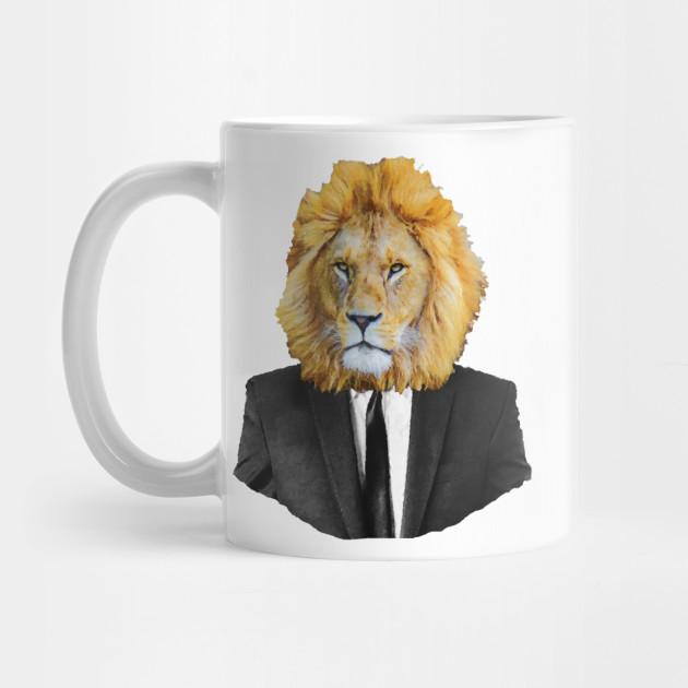 Lion Portrait In Black Suit Lion Mug Teepublic