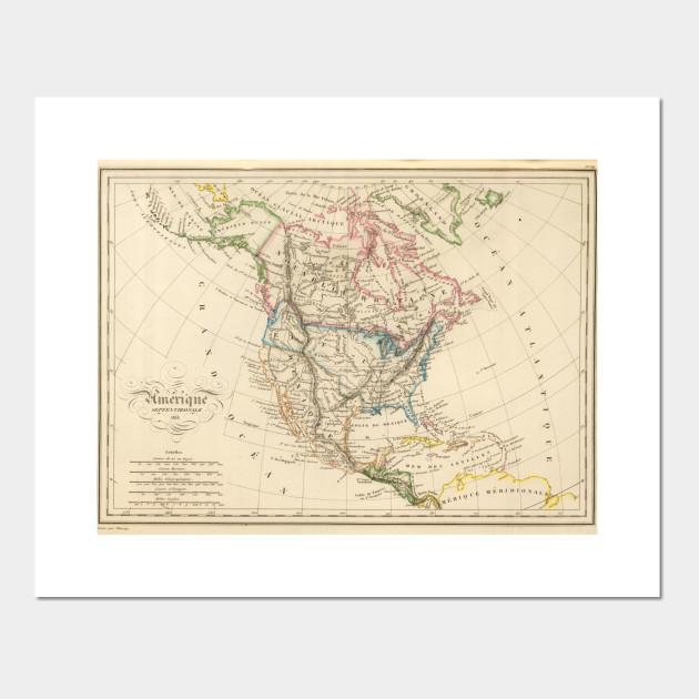 Vintage Map of North America (1837)