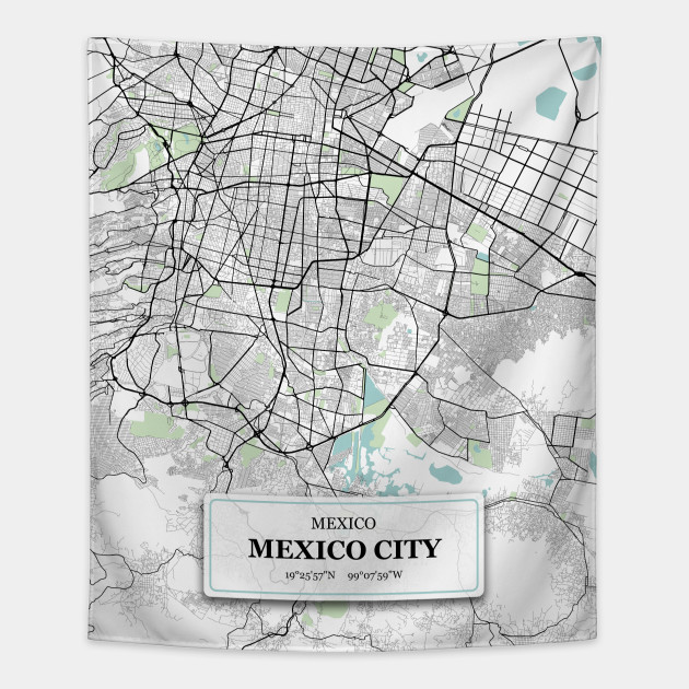 Mexico City/ City Map with GPS Coordinates on