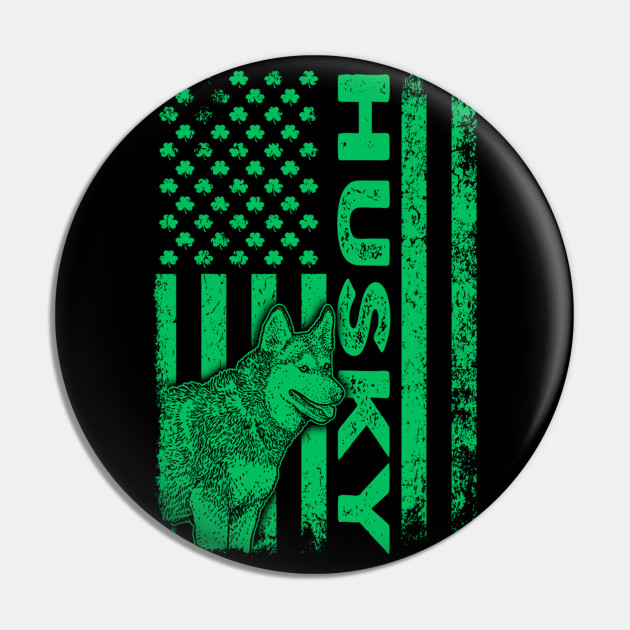 Irish Sibe Husky Dog American Ireland Flag St Patrick Day