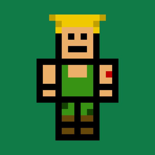 Guile Pixel Hero, Pixel Art, 8 Bit, Street Fighter