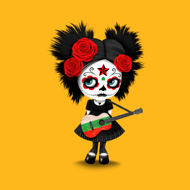 Sugar Skull Girl Playing Bulgarian Flag Guitar
