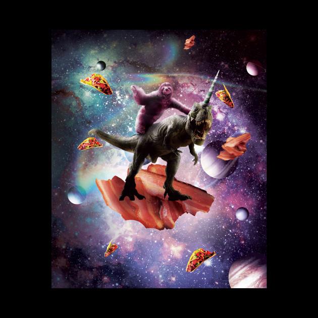Space Sloth Riding Dinosaur Unicorn - Bacon & Taco