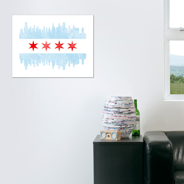 Distressed Chicago Skyline Flag
