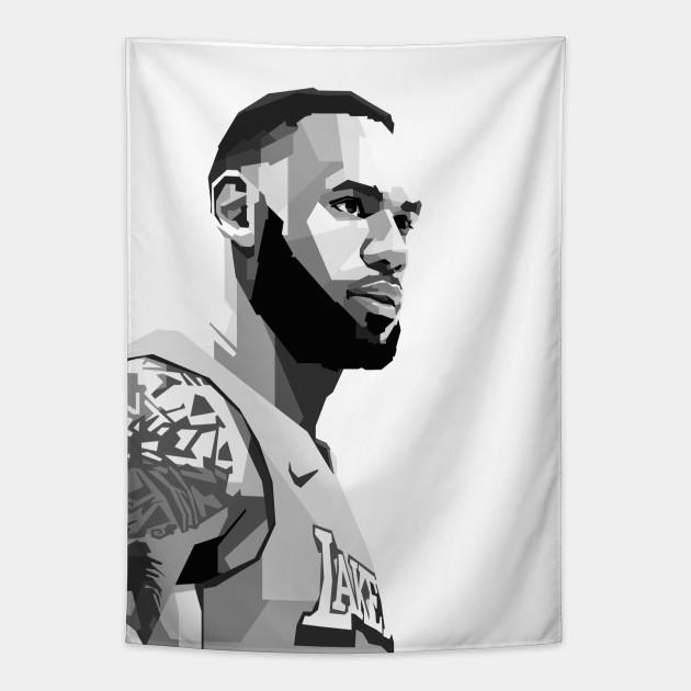 Lebron James Black White Lebron James Tapestry Teepublic