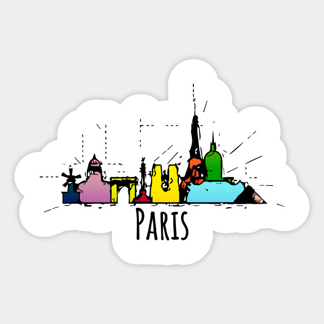 Paris Skyline Romantic Cartoon City Paris City Sticker Teepublic