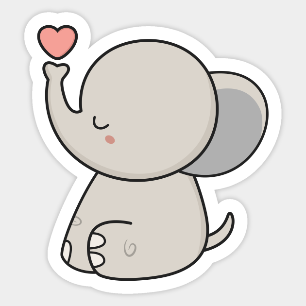 Kawaii Cute Elephant With A Heart Cute Sticker Teepublic