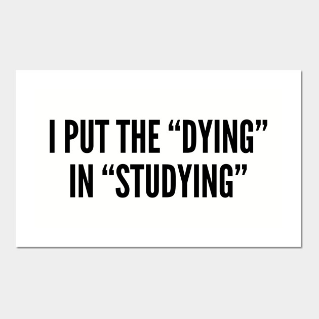 Silly - I Put The Dying In Studying - Funny Joke Statement Humor Quotes  Slogan