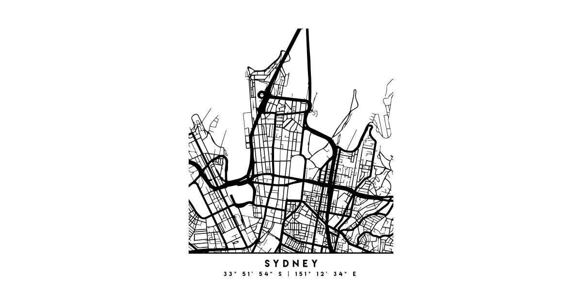 Australia Map Art.Sydney Australia Black City Street Map Art By Deificusart