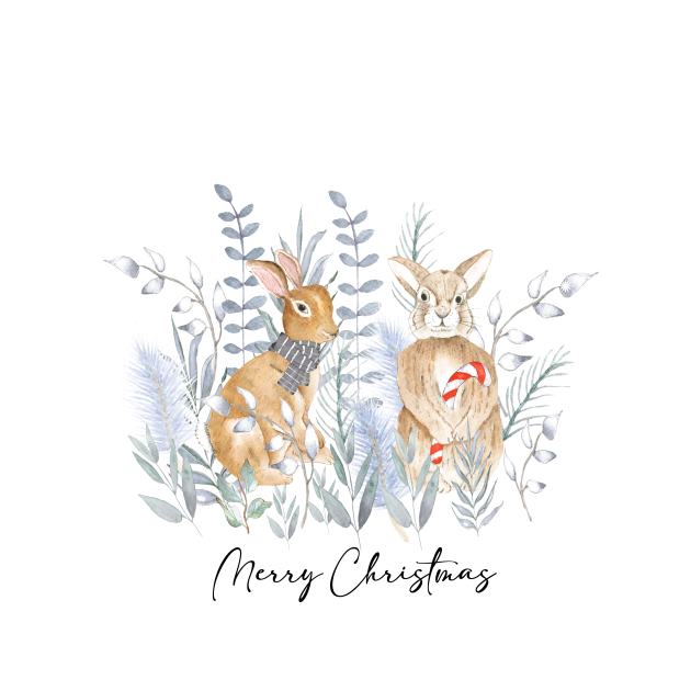 Merry christmas bunnies in the snow