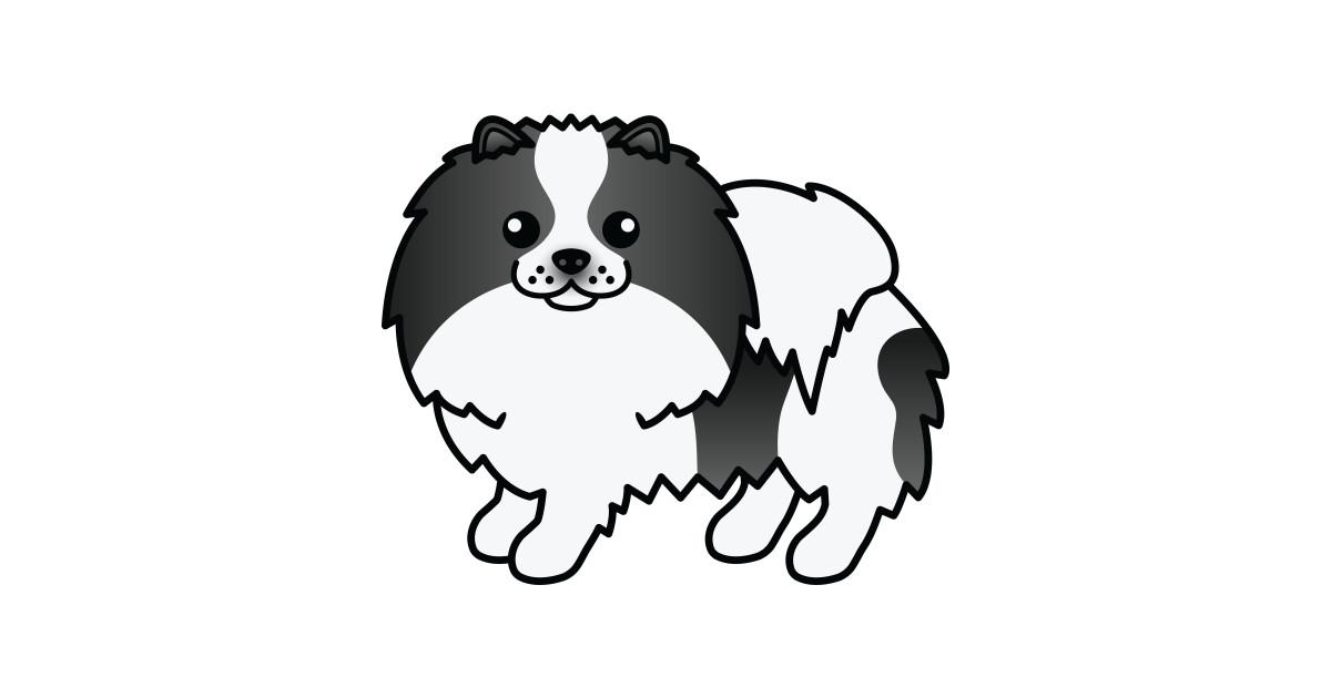 Black Parti Color Pomeranian Dog Cute Cartoon Illustration