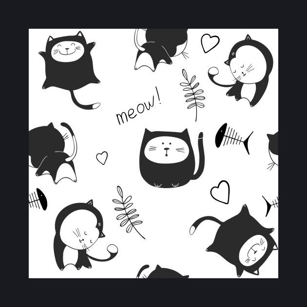 Cute black cat cartoon pattern