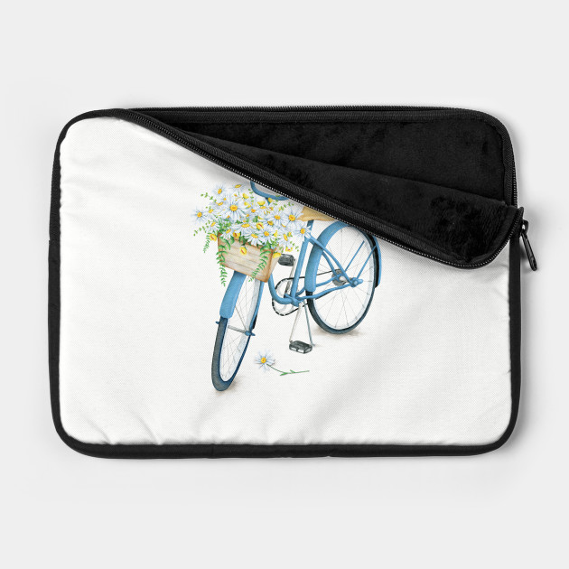 Vintage Blue Bicycle With Flowers
