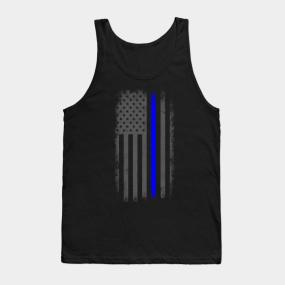 7d7f12c94dd0aa Vertical Thin Blue Line American Flag Tank Top