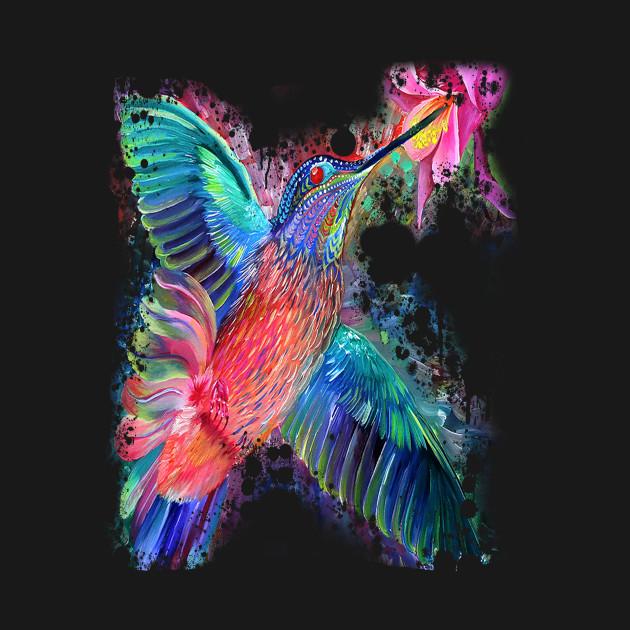 Colorful Rainbow Hummingbird Watercolor Art Print Colorful