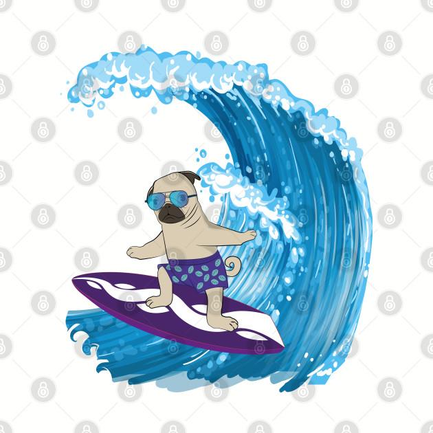 Pug Surfing Waves T-Shirt Surfboard & Sunglasses