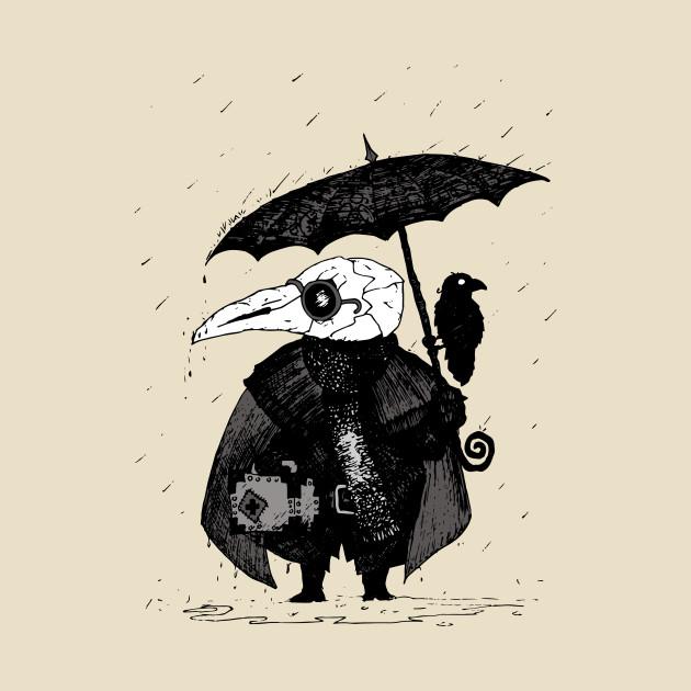 f1d6346c7cd0d Plague Doctor & Crow in the Rain - Plague Doctor - T-Shirt | TeePublic