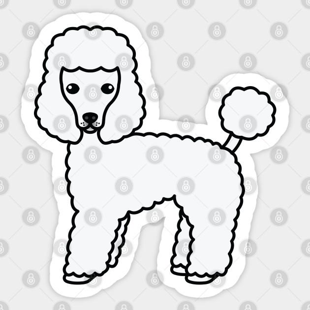 White Toy Poodle Dog Cute Cartoon Illustration Poodle Sticker Teepublic