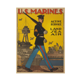 US Marines Active Service Land Sea Air - World War I Poster