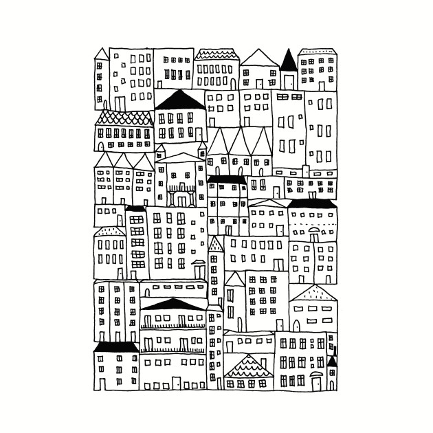 Cityscape Doodle Drawing, City Girl Gift Idea